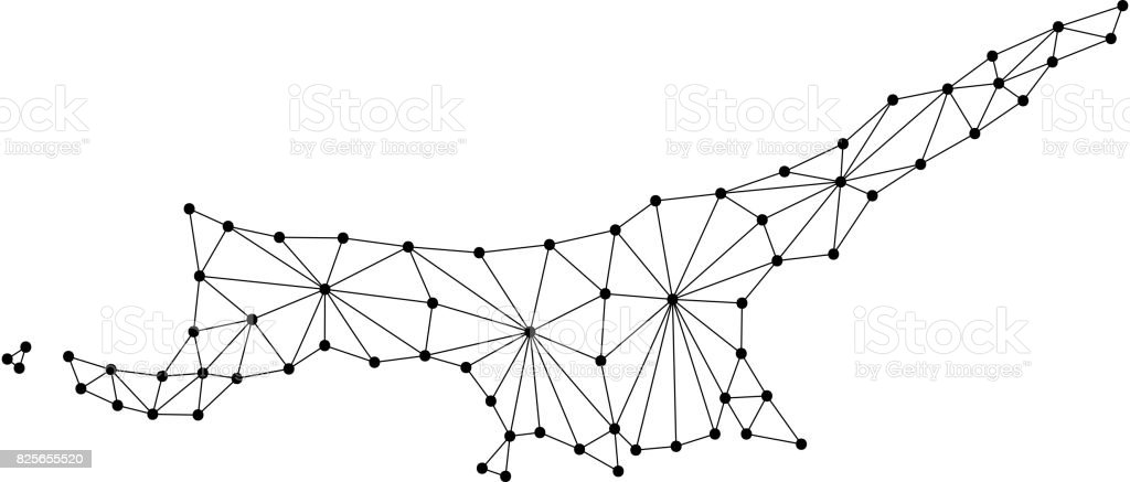 North Cyprus Map Of Polygonal Mosaic Lines Network Rays And Dots