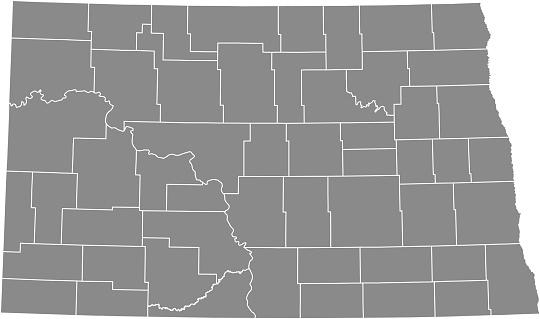北ダコタ郡地図ベクトル アウトライン グレー背景地図のノースダコタ州のアメリカ合衆国郡ボーダーを - アメリカ合衆国のベクターアート素材や画像を多数ご用意
