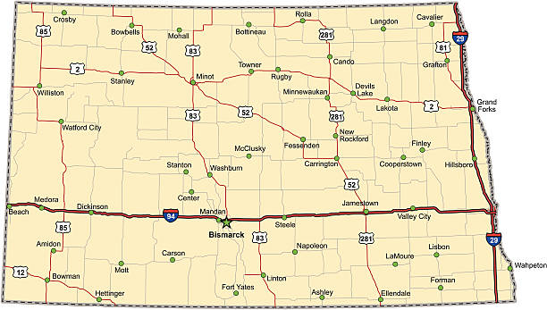 North Dakota Highway Map (vector) vector art illustration