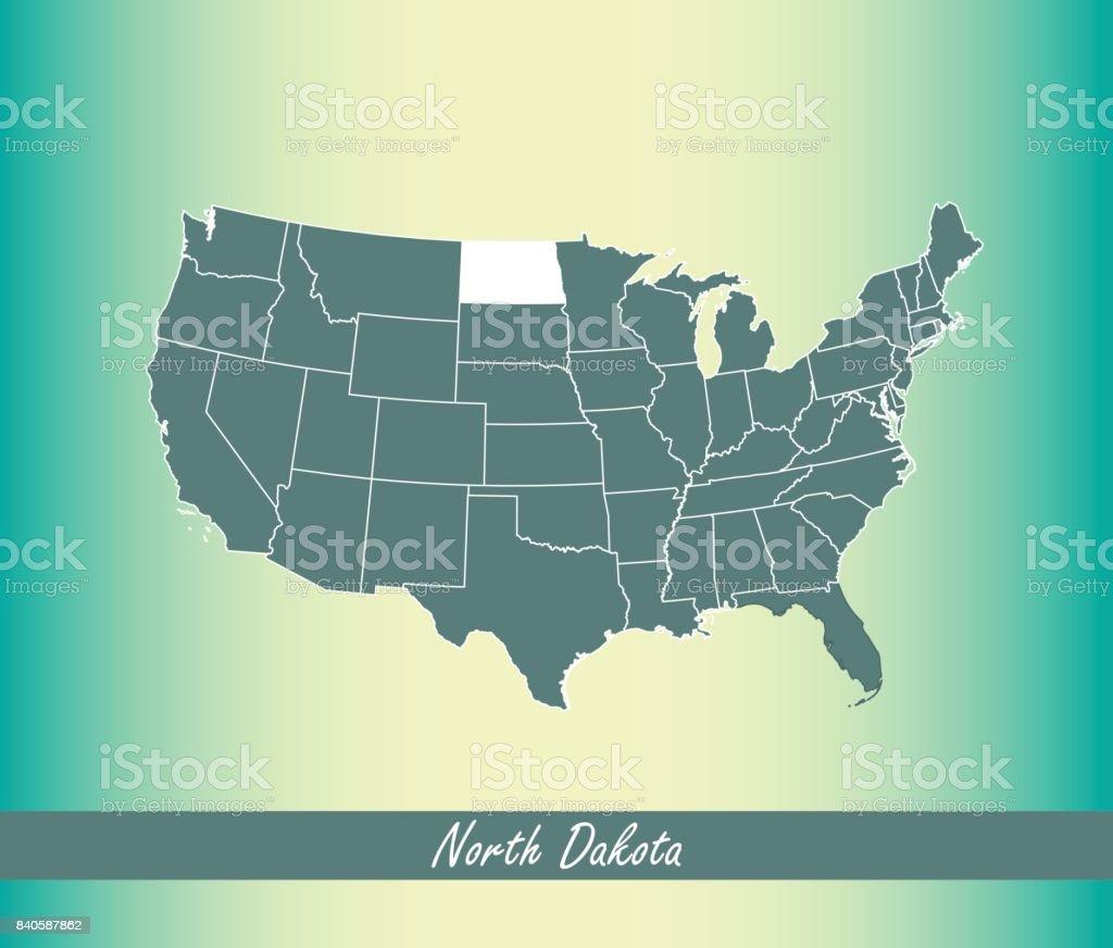 North Dakota Map Vector Outline Illustration Highlighted In United - North dakota on us map