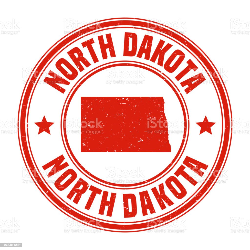 North Dakota Red Grunge Rubber Stamp With Name And Map Stock Vector