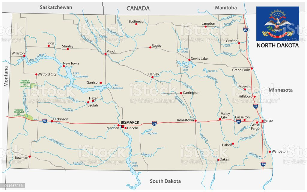North Dakota Road Vector Map With Flag Stock Vector Art & More ...