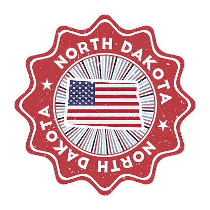 North Dakota round grunge stamp with us state map and country flag.
