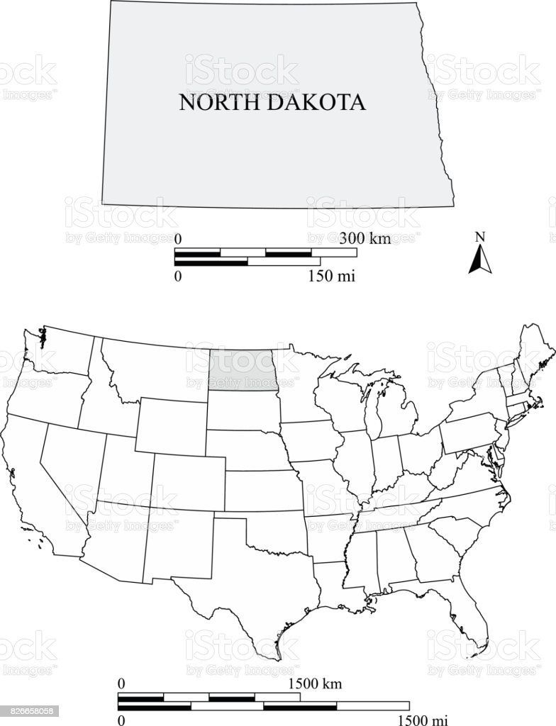 North Dakota State Of Us Map Vector Outlines With Scales Of Miles