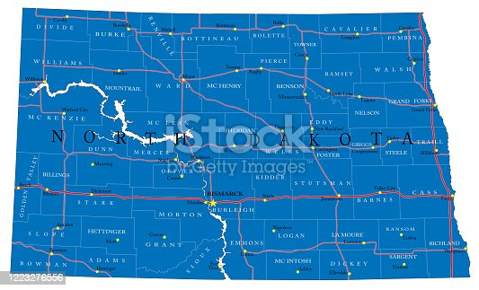 Detailed map of North Dakota state,in vector format,with county borders,roads and major cities.