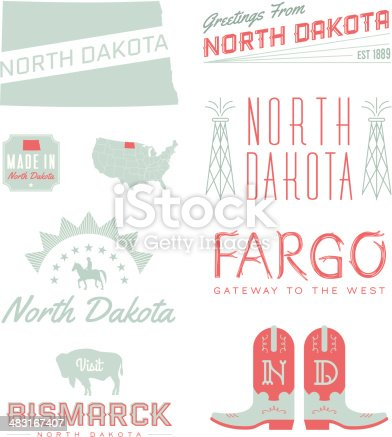 A set of vintage-style icons and typography representing the state of North Dakota, including Fargo and Bismarck. Each items is on a separate layer. Includes a layered Photoshop document. Ideal for both print and web elements.