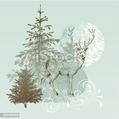 Hand drawn reindeer with fir trees. AI, EPS, TIF and JPG.