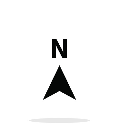 North direction compass icon on white background. Vector illustration.