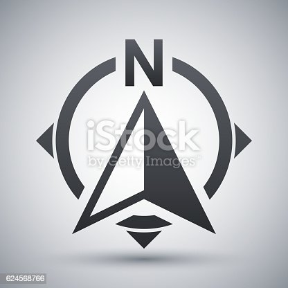 North direction compass icon, stock vector on gray background with shadow