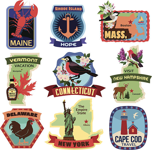 North East US states travel stickers North East US states travel stickers maple syrup stock illustrations