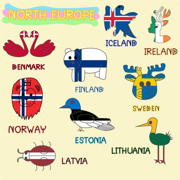 bildbanksillustrationer, clip art samt tecknat material och ikoner med norra europa - älg sverige