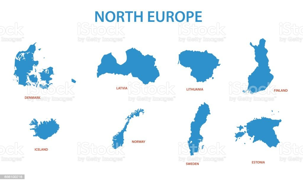 north europe - vector maps of territories royalty-free north europe vector maps of territories stock illustration - download image now