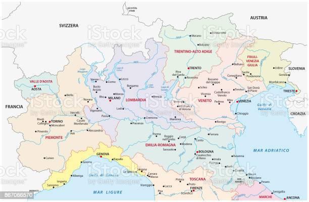 North Italy Administrative And Political Map - Immagini vettoriali stock e altre immagini di Austria