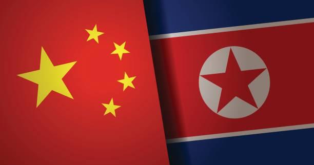 ilustraciones, imágenes clip art, dibujos animados e iconos de stock de fondo bandera de china y corea del norte - bandera coreana