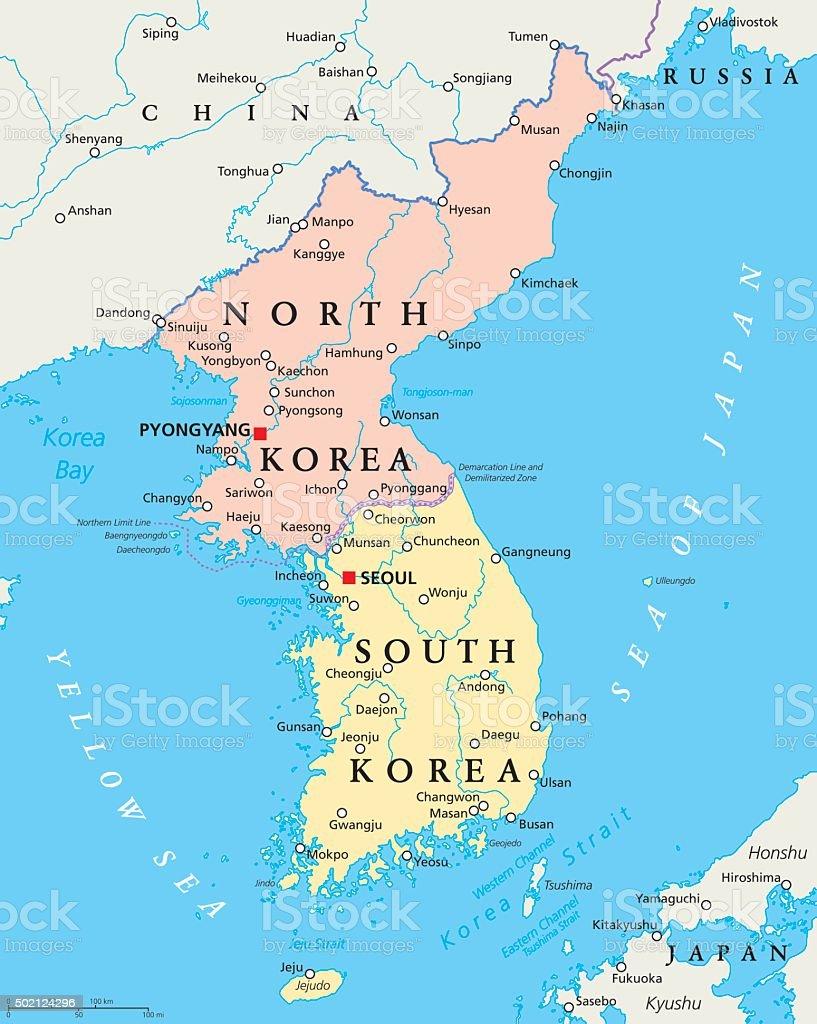 Nordkorea und Südkorea politische Karte – Vektorgrafik