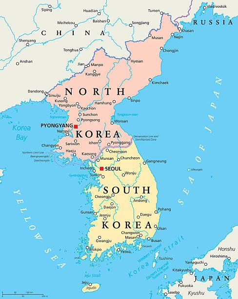 stockillustraties, clipart, cartoons en iconen met north korea and south korea political map - zuid korea