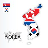 North Korea ( Democratic People 's Republic of Korea ) and South Korea ( Republic of South Korea ) ( flag and map ) ( transportation and tourism concept )