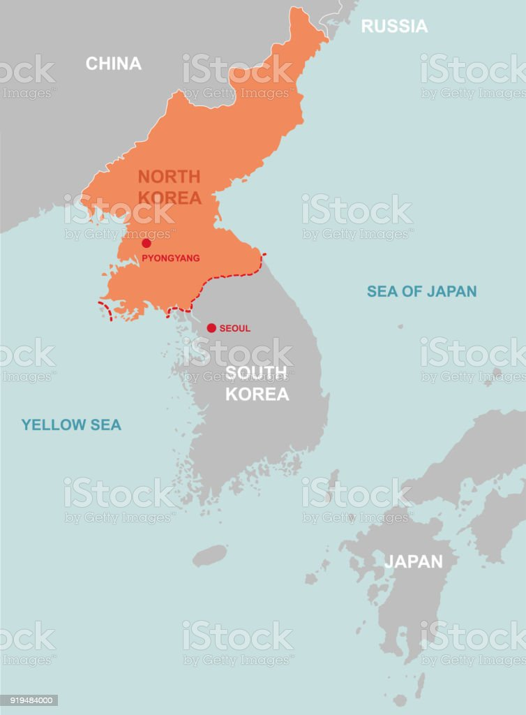 North Korea And Surrounding Countries Map Stock Vector Art & More ...