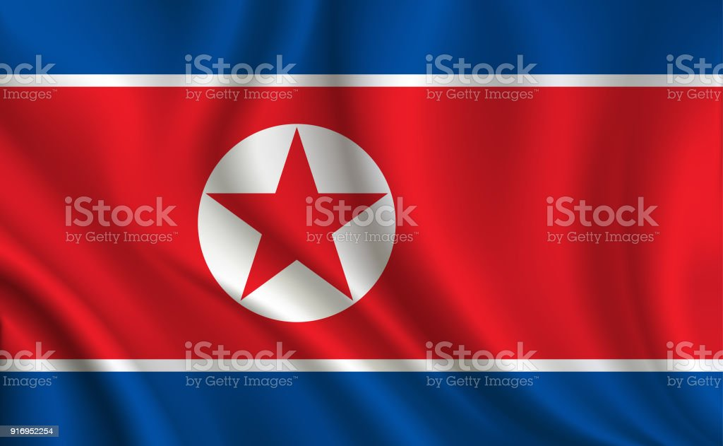 North Korea flag background vector art illustration