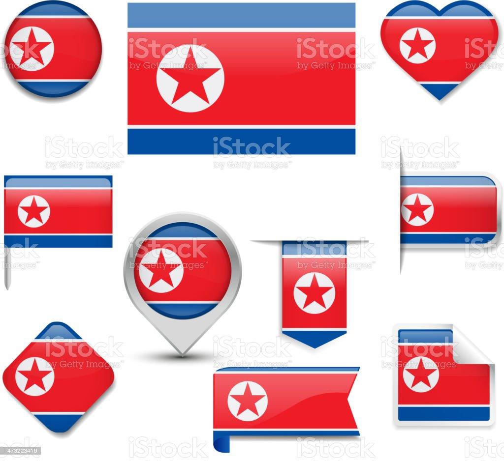 North Korea Flag Collection vector art illustration