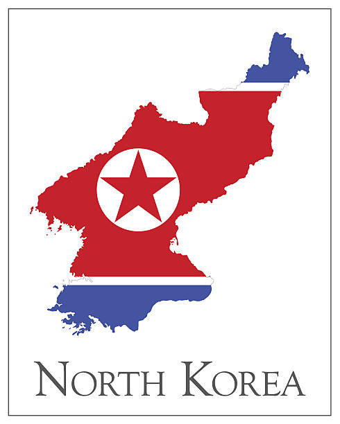 ilustraciones, imágenes clip art, dibujos animados e iconos de stock de mapa bandera de corea del norte - bandera coreana
