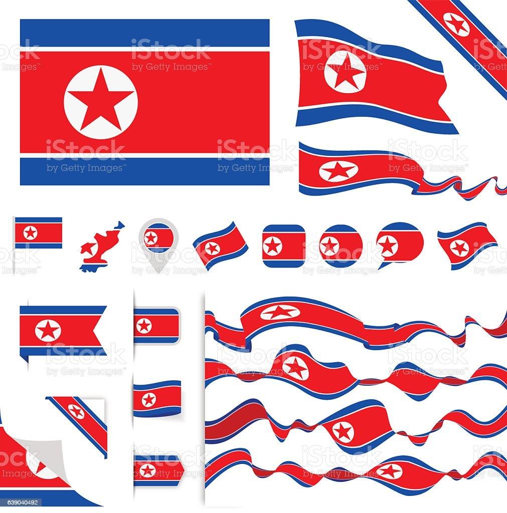 North Korea Flag Set vector art illustration