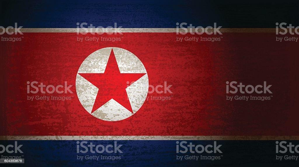 North Korea flag with grunge texture - ilustración de arte vectorial