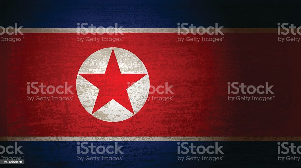 North Korea flag with grunge texture vector art illustration