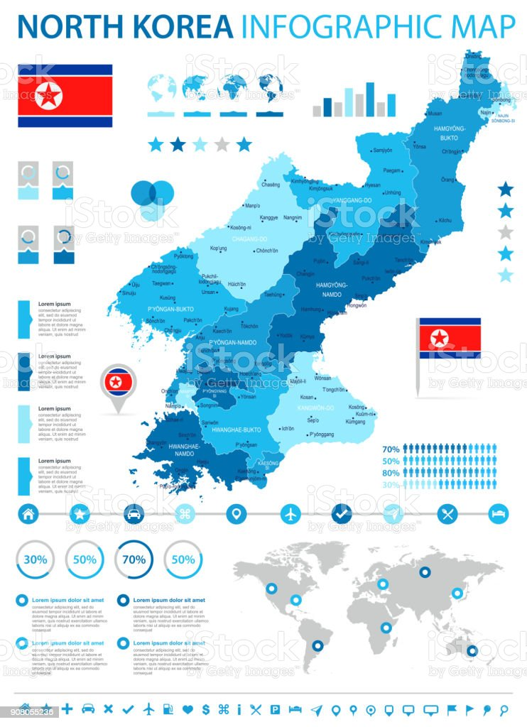 North Korea - infographic map and flag - Detailed Vector Illustration vector art illustration