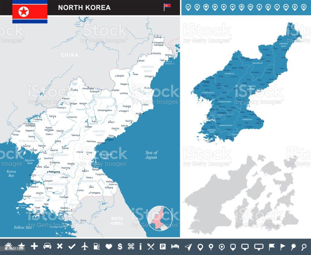 North Korea - infographic map - Detailed Vector Illustration vector art illustration