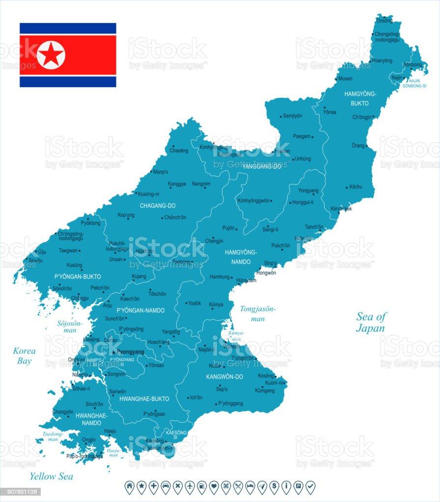North Korea - map and flag - Detailed Vector Illustration vector art illustration