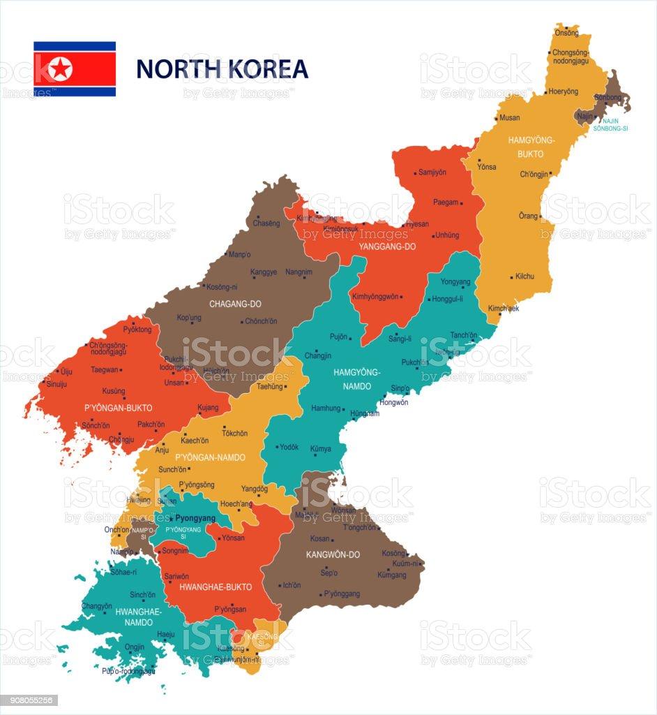 North Korea - map and flag Detailed Vector Illustration vector art illustration