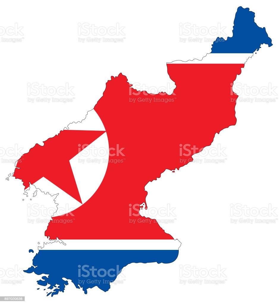North Korea map and flag vector art illustration