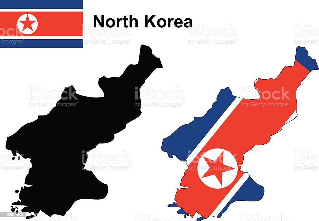 Mapa bandera de corea del norte y mapa del vector, Corea del Norte - ilustración de arte vectorial