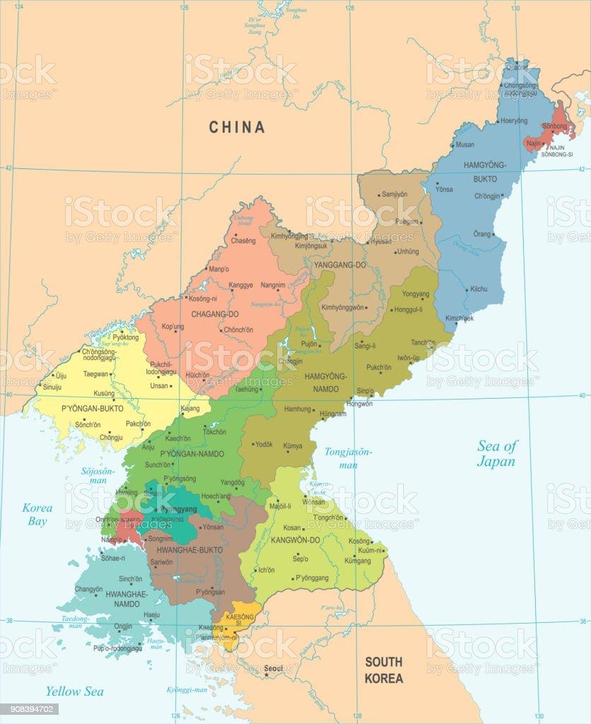 North Korea Map - Detailed Vector Illustration vector art illustration