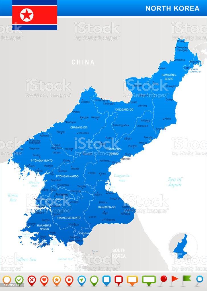 North Korea - map, flag and navigation icons - Detailed Vector Illustration vector art illustration