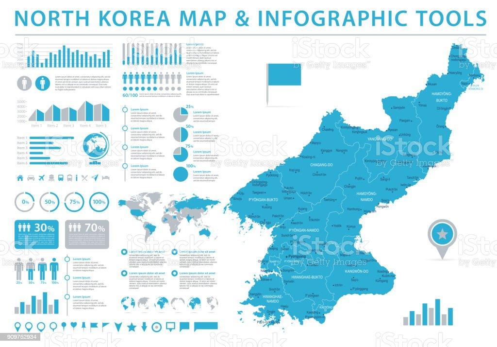 North Korea Map - Info Graphic Vector Illustration vector art illustration