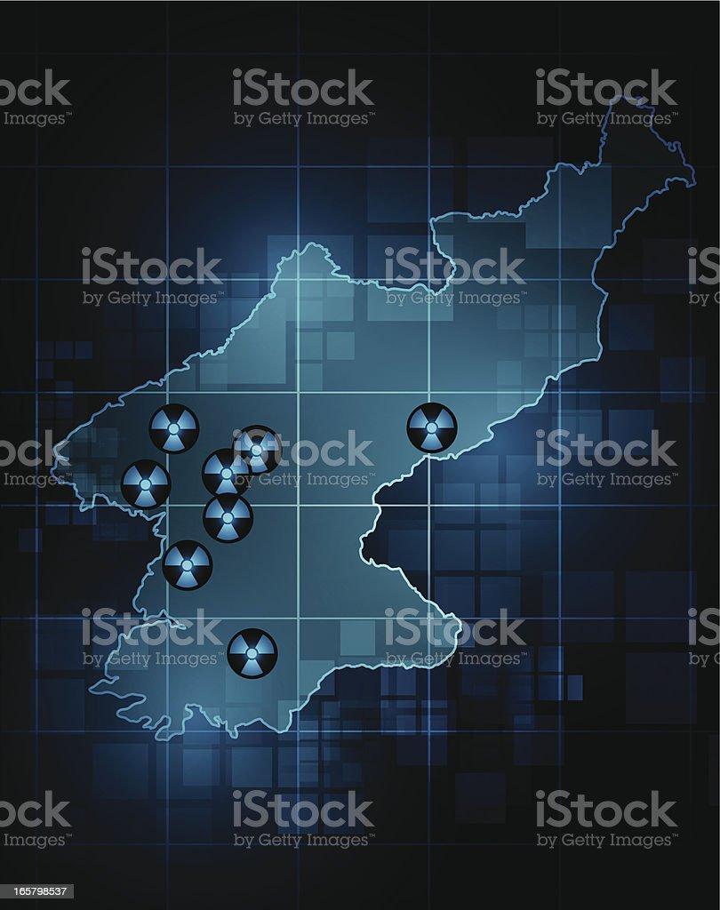 North Korea map - nuclear sites vector art illustration
