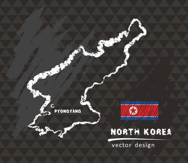 north korea map, vector pen drawing on black background - back to school stock illustrations