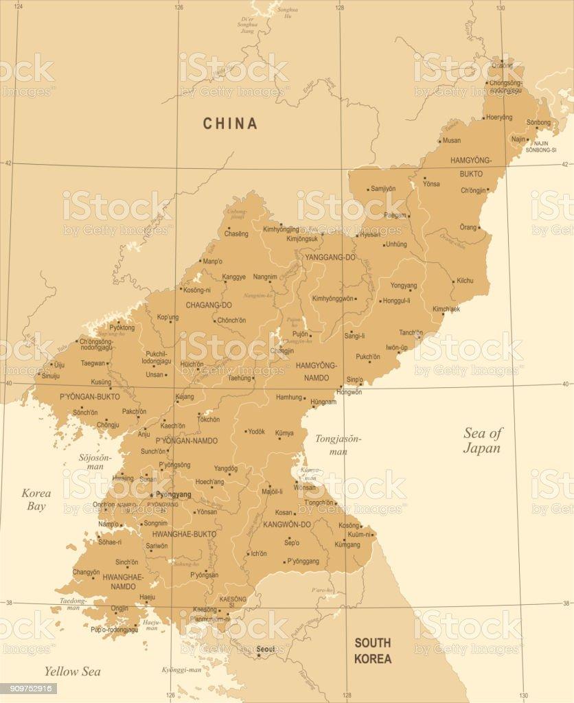 North Korea Map - Vintage Detailed Vector Illustration vector art illustration