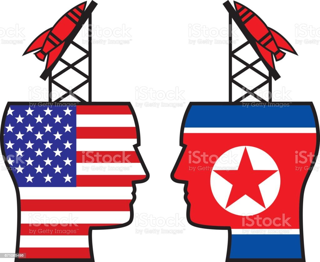USA North Korea Missiles vector art illustration