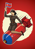 vector of north korea pin up girl ride a nuclear bomb