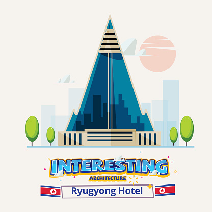 North Korea, Ryugyong Hotel. interesting architecture around the world concept - vector