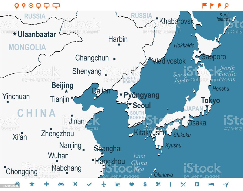 North Korea South Korea Japan China Russia Mongolia Map Vector ...