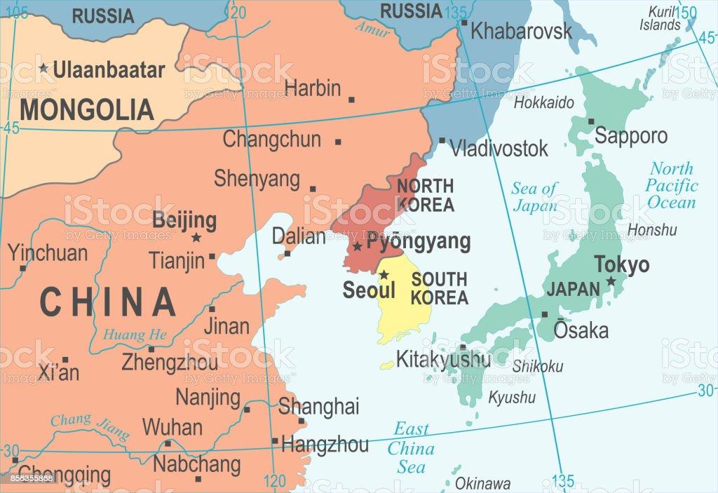 North korea south korea japan china russia mongolia map vector north korea south korea japan china russia mongolia map vector illustration royalty free north gumiabroncs Image collections