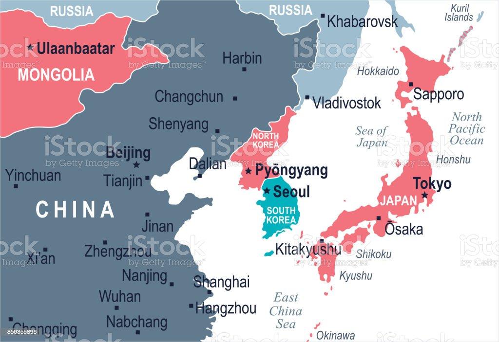 North Korea South Korea Japan China Russia Mongolia Map Vector