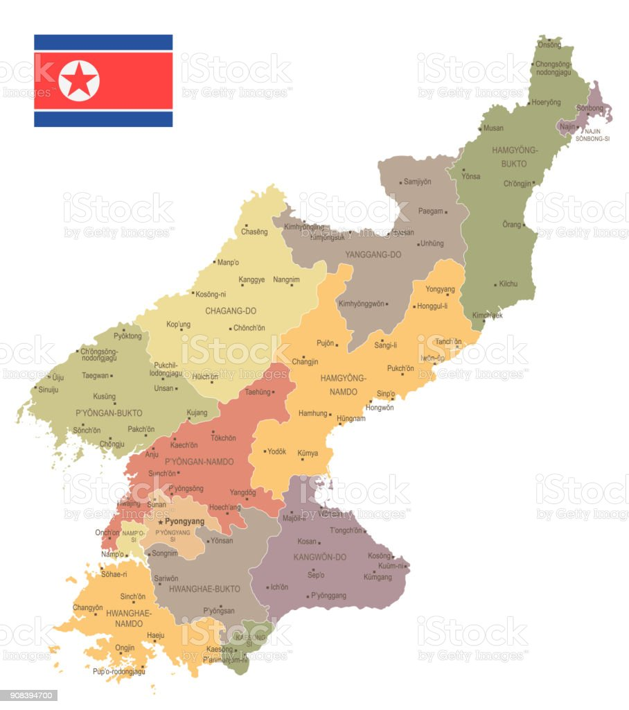 North Korea - vintage map and flag - Detailed Vector Illustration vector art illustration