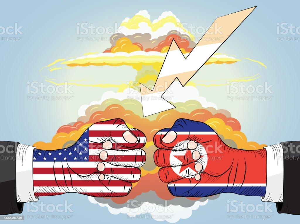 North Korea vs America, Nuclear explosion vector art illustration