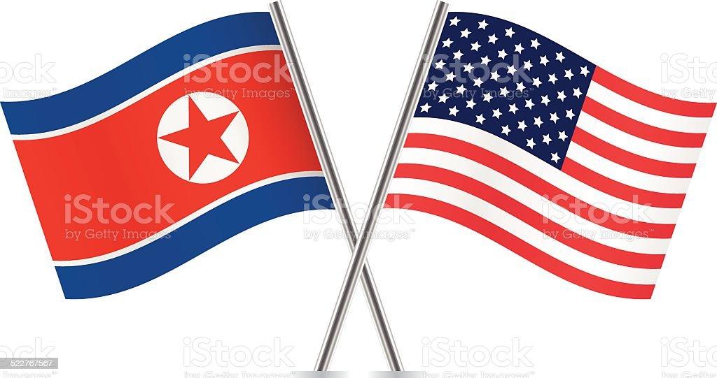 De Corea del Norte y American flags.  Vector. - ilustración de arte vectorial