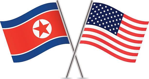ilustraciones, imágenes clip art, dibujos animados e iconos de stock de de corea del norte y american flags.  vector. - bandera coreana